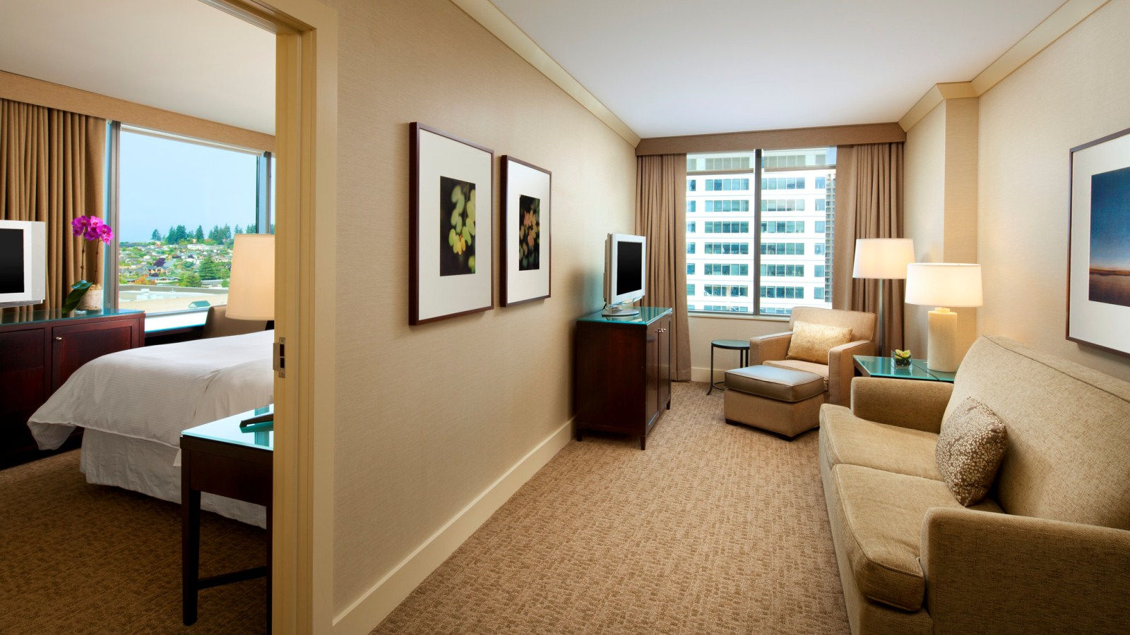 An Executive Suite at the Westin Bellevue - complete with Lake Washington Views and a parlour.