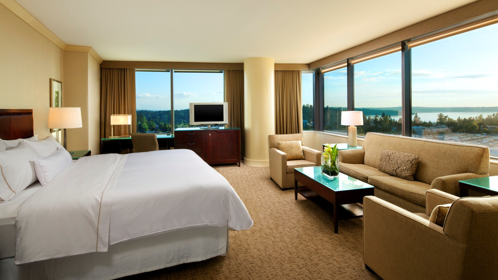 A Corner Studio Suite with views of Lake Washington at the Westin Bellevue