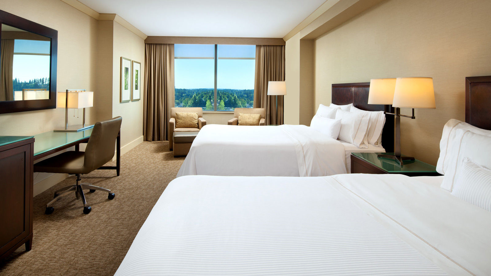 A newly renovated Deluxe Room at The Westin Bellevue