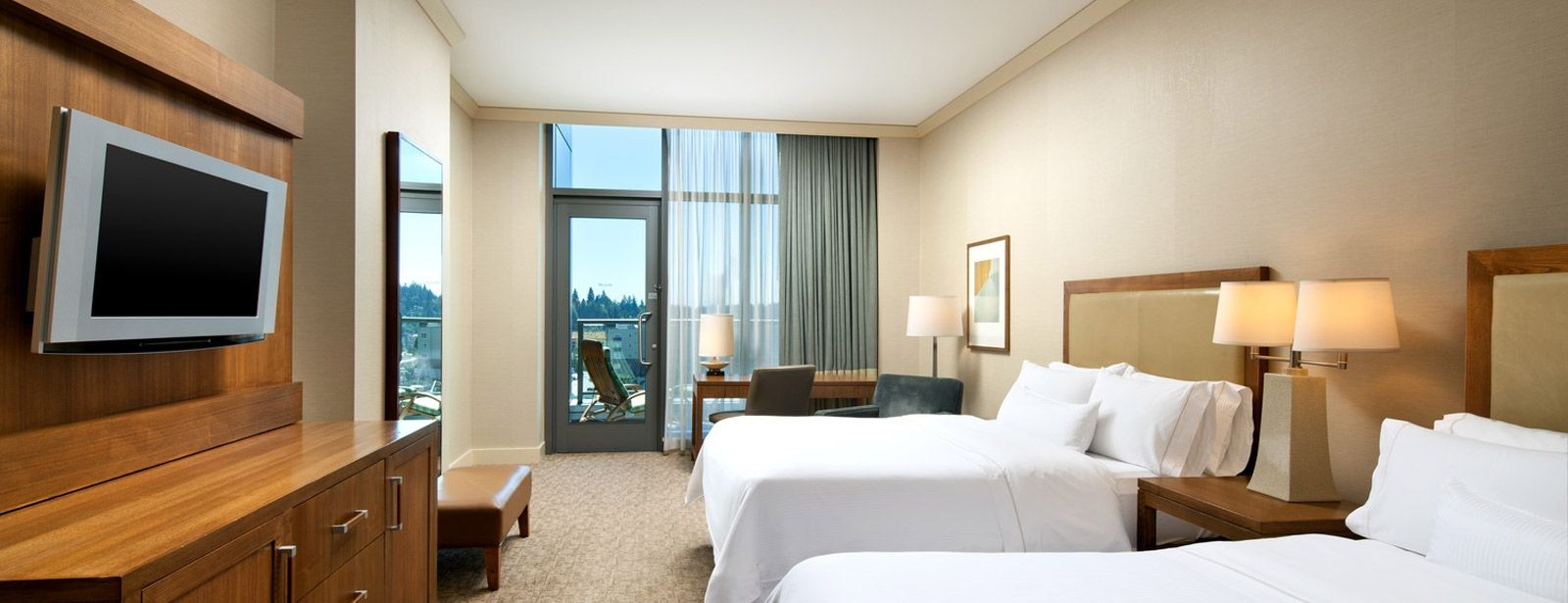 A Grand Deluxe Room with it's balcony at The Westin Bellevue