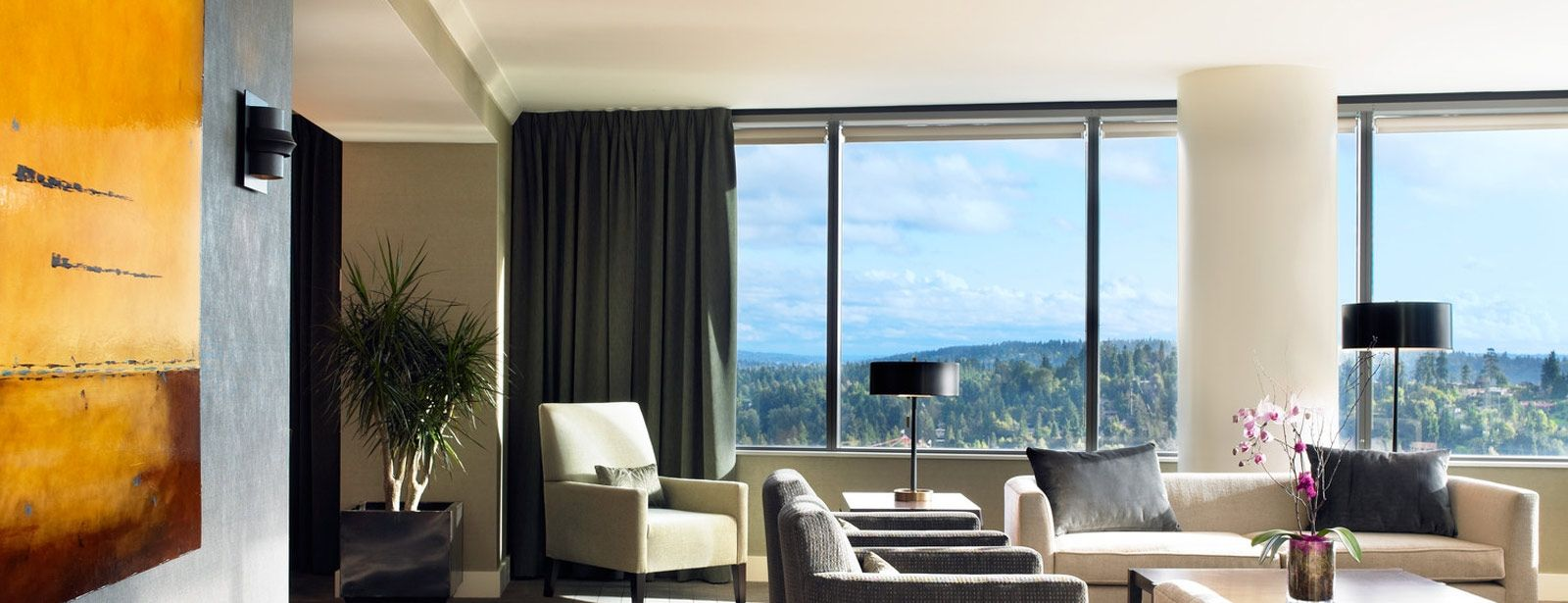 The Luxury Chairman Suite at the Westin Bellevue - complete with views of Mt. Rainier and Lake Washington.